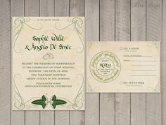 lord of the rings wedding invitations | love the scroll work on the actual invitation! I know you can't ...