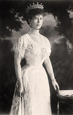 Queen Mary, wife of George V, 1914.  Mary of Teck (Victoria Mary Augusta Louise Olga Pauline Claudine Agnes; 26 May 1867 – 24 March 1953) was the queen consort of the United Kingdom and the British Dominions, and Empress of India, as the wife of King-Emperor George V.