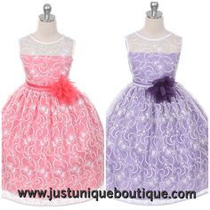 Sweet lace flower girl dress with pin on flower. http://www.justuniqueboutique.com/adorable-lace-overlay-flower-girl-dress-with-matching-flower.html