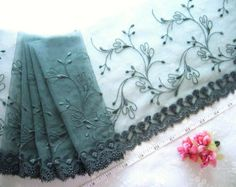Lace trim, Tulle lace, Embroidered lace, Gray lace, Bridal lace 2 yards GY013