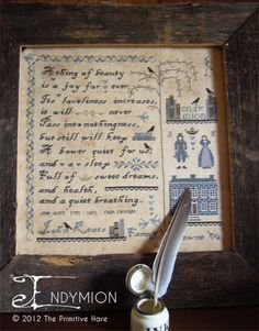 Endymion poetry cross stitch patterns by The Primitive Hare at thecottageneedle.com John Keats by thecottageneedle