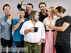Benedict Cumberbatch, Andy Serkis, Luke Evans, Peter Jackson, Lee Pace, Cate Blanchett, Orlando Bloom, The Hobbit: The Battle of the Five Armies - All the pointing!