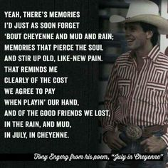 July in Cheyenne - Aaron Watson (Dedicated to Lane Frost). Rodeo Quotes, Cowboy Quotes, Horse Quotes, Song Quotes, Qoutes, Lane Frost Quotes, July In Cheyenne, Bull Riding Quotes, Farm Life Quotes