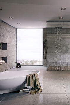 Salle de bain minérale et minimaliste, niches aux dimensions du carrelage | mineral and minimaliste wide bathroom