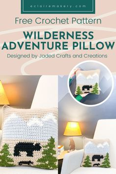 Bring a bit of the mountains to your home with the Wilderness Adventure Pillow. This free intarsia crochet pillow pattern is a great first time crochet color work pattern. It's a cozy free crochet pillow that is perfect for a cabin or a nursery. #freecrochetpillow #intarsiacrochetpillow #intarsiacrochet #freeintarsiacrochet #crochetpillowpattern #freecrochetpillowpattern #tapestrycrochet