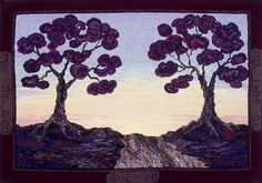 """""""May the Road Rise Up to Greet You"""" -- an original design that won Best of Show at Sauder Village the year it was shown. By Sandra Brown Landscape Art Quilts, Landscapes, Hand Hooked Rugs, Rug Hooking, Woven Rug, Beautiful Hands, Fiber Art, Scene, Wool"""