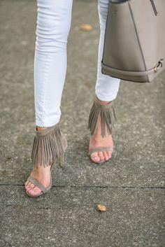 Fringe suede sandals.