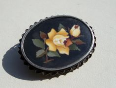 Antique Pietra Dura Brooch Yellow Roses by OldTreazureTrunk, $68.00
