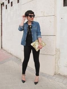 The Love,Cortnie 'Glittering Gold' clutch with black and chambray.  via Soul Of A Shopper