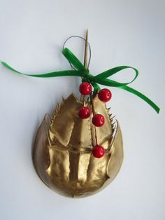 Gold Horseshoe Crab Christmas Tree by keeperofthedragonfly on Etsy, Christmas Tree Ornaments, Christmas Ideas, Merry Christmas, Beach Holiday, Holiday Decor, Crab Art, Horseshoe Crab, Seashell Crafts, Crabs