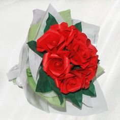 """9 Roses"" origami flower bouquet - 26 folded elements (origami flower & foliage)  - Free Shipping Worldwide - $54.99"