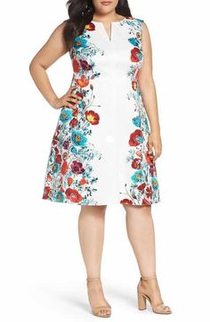 Adrianna Papell Floral Jacquard Fit & Flare Dress (Plus Size)