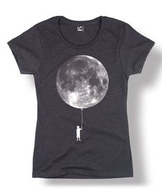 Look what I found on #zulily! Heather Charcoal Child & Moon Cap-Sleeve Fitted Tee #zulilyfinds