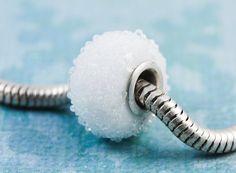 Snowball European Charm Bead with Sterling Core, fits Pandora, Troll, Biagi $20