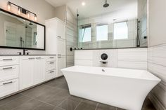For those who are searching for a bathroom model, the examples below modern master bathroom designs it is possible to choose. Small Bathroom Tiles, Master Bathroom Layout, Modern Master Bedroom, Modern Bathroom Design, Bathroom Designs, Custom Home Designs, Custom Home Builders, Custom Homes, Pebble Shower Floor