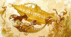 Il utilise du thé pour peindre des dessins steampunk