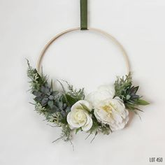 Hoop Wreath with White Silk Flowers Artificial Succulents and