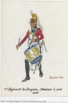 French;7th Dragoons, Drummer a pied 1805