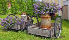 Recycling old milk churns in the garden. Jorma Soininen