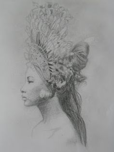 A sketch of a photo of a Bali dancer in National Geographic that I did.  Clever, Clever Girl: My art