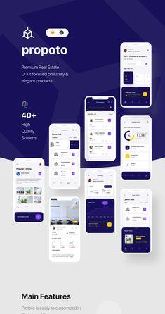 Propoto UI Kit Premium Real Estate UI Kit focused on luxury & elegant product Android App Design, App Ui Design, Mobile App Design, User Interface Design, Mobile Application Design, App Design Inspiration, Mobile App Ui, Ui Kit, Marketing