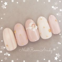 Simple elegant pastel delicate rose and pearl nail art with golden jewels and white ribbon Pearl Nail Art, Pearl Nails, May Nails, Pink Nails, Gold Nails, Bride Nails, Wedding Nails, Cute Nails, Pretty Nails