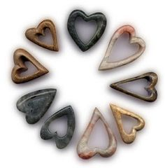 alabaster, jade and soapstone hearts