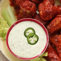 Creamy Jalapeno Ranch Dip - I've been looking an online recipe so I'd have a photo - this recipe is similar. My recipe: 1 pkg Ranch dressing, 1/2 c buttermilk, 1 c. mayo (substitute sour cream for thicker dipping),  cilantro to taste, 2-3 jalapenos + some jalapeno juice.  Put in blender and mix, flavor develops in refrigerator overnight so make in advance of serving. Good on sooo many things.