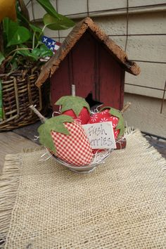 STRAWBERRIES  Primitive Summer Arrangement  by PrimitivesByCyn