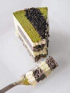 recipe for matcha sesame mousse cake