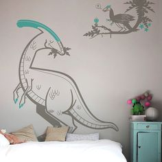 Dinosaurs arent just for boys ! Wall decals by E-Glue Design Studio #kidsroomdecor #kidswalldecals #dinosaurtheme #dinosaurroom