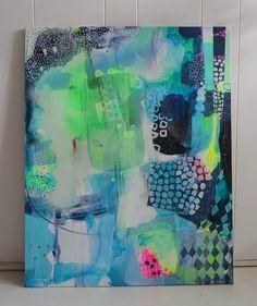 blå og grøn maleri
