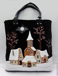"Buy Bag with houses ""Birth of the Year. Patchwork Bags, Quilted Bag, Sacs Tote Bags, Felt Purse, Buy Bags, House Quilts, Denim Bag, Fabric Bags, Handmade Bags"