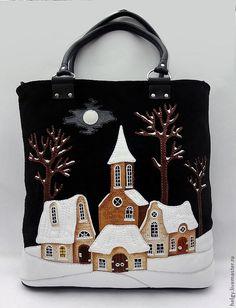 """Купить Сумка с домиками """"Рождение Года"""" - рисунок, сумка, сумка женская, Сумка женская кожаная"""