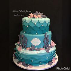 Bolo com tema Princesa Ariel. Inspirado em imagem do Google !!!!
