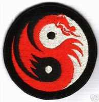 Yin Yang with red dragon - embroidered patch   eBay £3.00