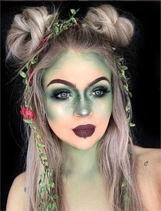 Halloween Scary But Fairly Halloween Make-up Appears You Want ; Halloween Make-up; Halloween Make-up Fairy Make-up, Green Fairy, Cute Halloween Makeup, Halloween Makeup Looks, Scream Halloween, Fairy Halloween Costumes, Halloween Party, Rabbit Halloween, Poison Ivy Halloween Costume
