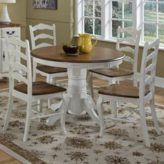 Modern Farmhouse Dining Room Decor Ideas - calandra news Farmhouse Dining Room Table, Dining Room Sets, Dining Room Design, Dining Chairs, White Dining Rooms, White Round Kitchen Table, Kitchen Dining, Square Kitchen, Room Chairs
