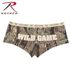 """Rothco ""Wild Game"" Booty Shorts & Tank Top"" The Rothco ""Wild Game"" Booty Shorts & Tank Top can be worn as underwear or lounging wear. They feature a cotton/spandex blend with an elastic waistband and feature our classic smoky branch Camo with ""Wild Game"" lettering on the back as well as the waistband. Matching tank top also sold separately . Available in 6 sizes."