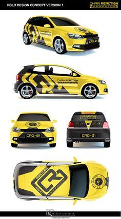Chain Reaction Graphics on Behance #VehicleWrap #Design #Signage #Car #Wrap #Vinyl #Stickers #SmallCar #twodoor #hatchback #Black&Yellow #Branding #Polo #behance #bradleylancaster bradleylancaster bradleylancaster.com