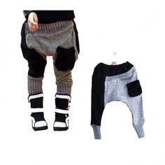 Toddler girls gray cotton harem patchwork autumn pants $24.25