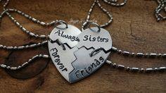 Always Sister Forever Friends Four Piece Heart Necklace Set, Handstamped 4 Split Heart Necklace Set, Sisters Jewelry, Best Friends Set by JazzieJsJewelry on Etsy