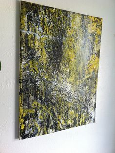 Large Original Abstract Art Painting Yellow by CosmicCannibalArt