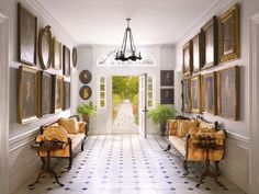 an entrance hallway with portraits on both sides and two yellow sofas Sofas, Yellow Sofa, Brooklyn Style, New York School, Hudson River, Entry Foyer, Country Estate, Historic Homes, New Books