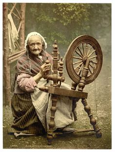 Irish Spinner and Spinning Wheel. Co. Galway, Ireland. 1890–1900