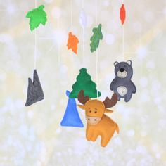 Wildlife mobile Adventure theme felt crib by MiracleInspiration