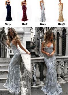 Sexy Deep V Neck Straps Sequin Party Dress Long Prom Dress  dress  sequin  Dresses c05eb81d6c57