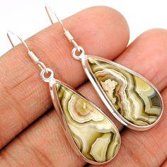 Mexican Laguna Lace Agate 925 Sterling Silver Earrings Jewelry LLAE400 - JJDesignerJewelry