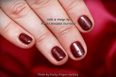 Gelish Autumn Burgundy Shimmer nails by FUNKY FINGERS FACTORY