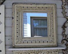 Rustic mirror. 2x2 Framed ANTIQUE Ceiling Tin by DriveInService